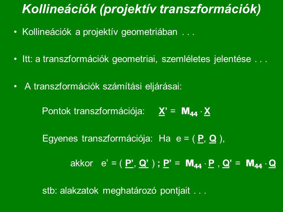 Kollineációk (projektív transzformációk)