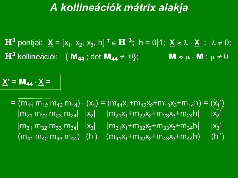 A kollineációk mátrix alakja