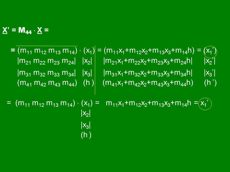 X' = M44  X = = (m11 m12 m13 m14)  (x1) = (m11x1+m12x2+m13x3+m14h) = (x1') |m21 m22 m23 m24| |x2| |m21x1+m22x2+m23x3+m24h| |x2'|