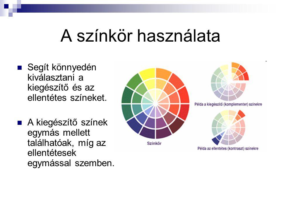 A színkör használata Segít könnyedén kiválasztani a kiegészítő és az ellentétes színeket.