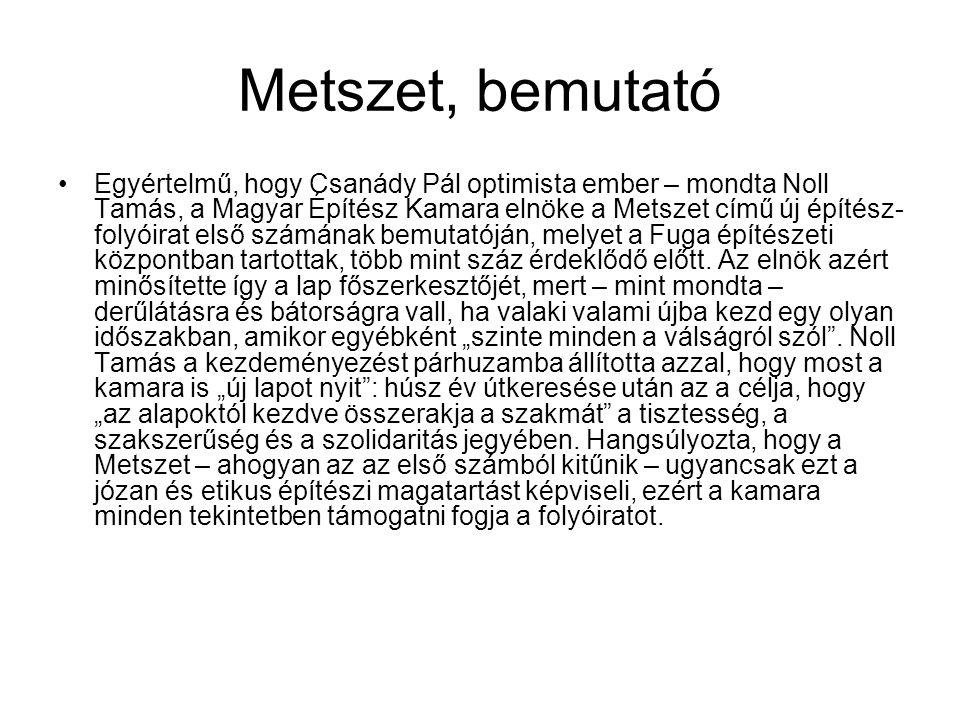 Metszet, bemutató