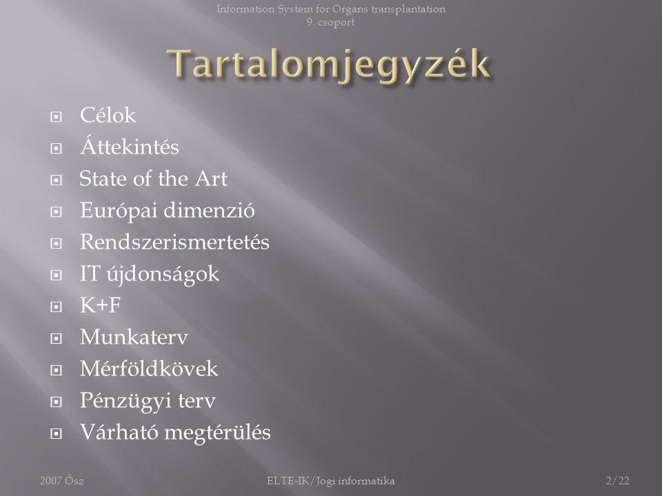 Tartalomjegyzék Célok Áttekintés State of the Art Európai dimenzió