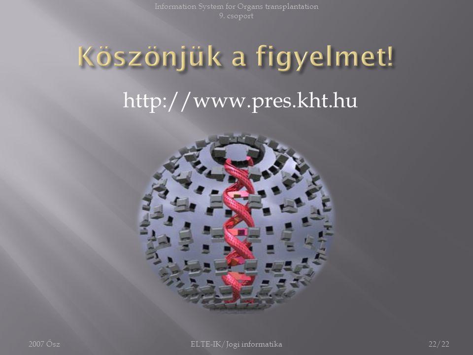 Köszönjük a figyelmet! http://www.pres.kht.hu