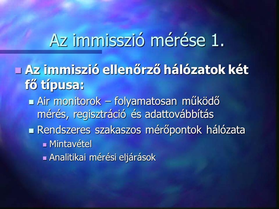 Az immisszió mérése 1. Az immiszió ellenőrző hálózatok két fő típusa: