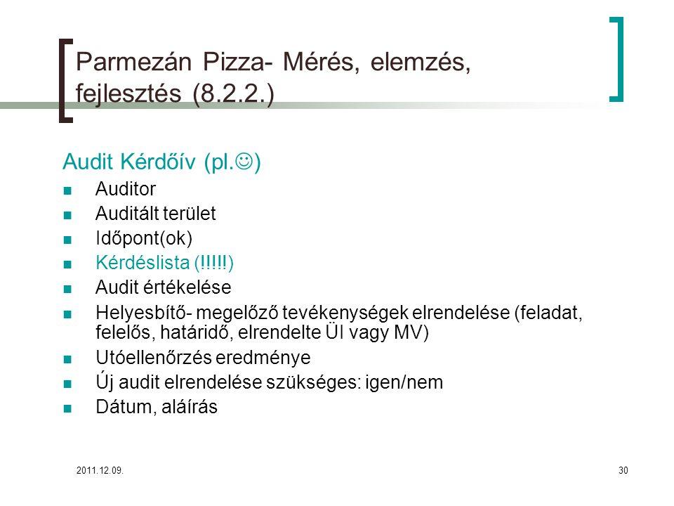 Parmezán Pizza- Mérés, elemzés, fejlesztés (8.2.2.)