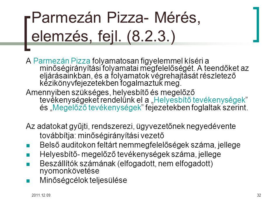 Parmezán Pizza- Mérés, elemzés, fejl. (8.2.3.)