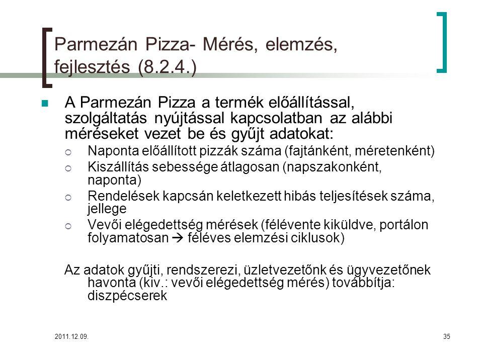 Parmezán Pizza- Mérés, elemzés, fejlesztés (8.2.4.)