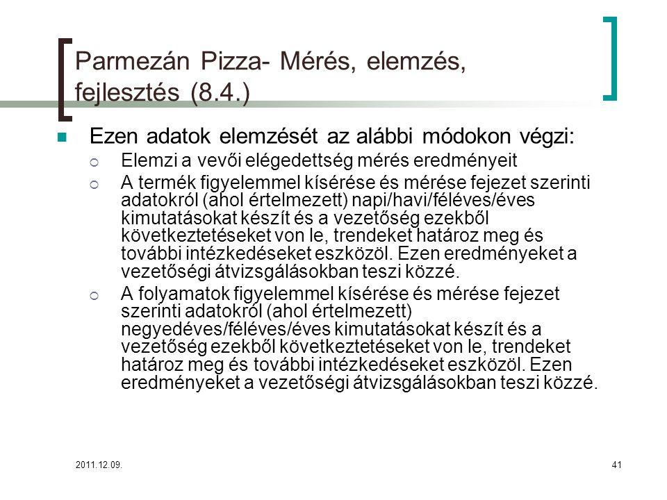Parmezán Pizza- Mérés, elemzés, fejlesztés (8.4.)