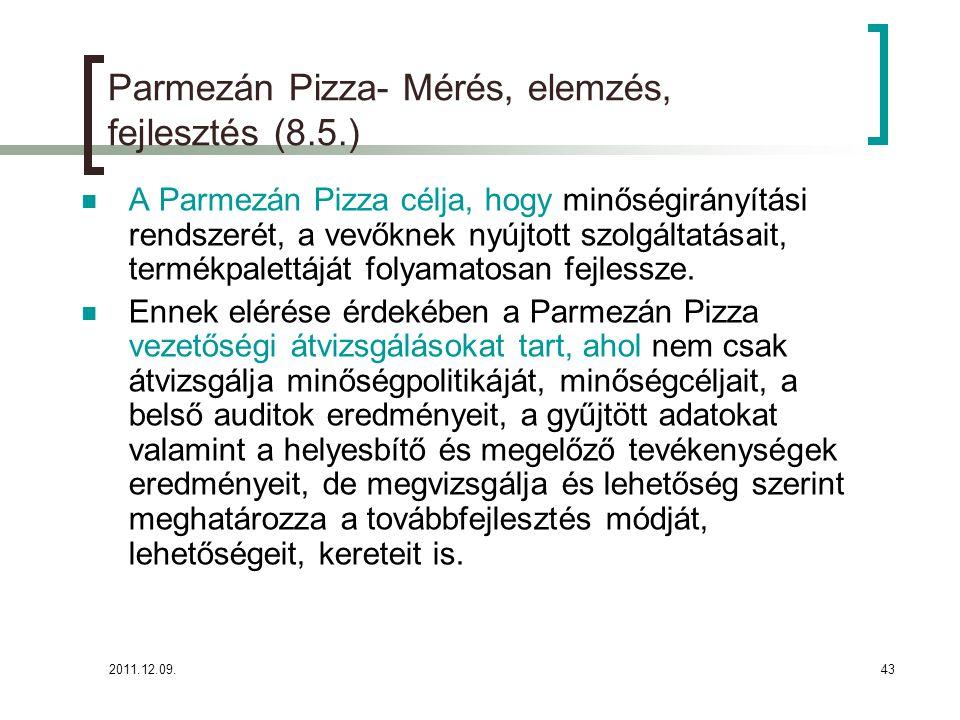 Parmezán Pizza- Mérés, elemzés, fejlesztés (8.5.)