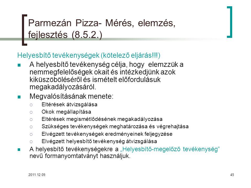 Parmezán Pizza- Mérés, elemzés, fejlesztés (8.5.2.)