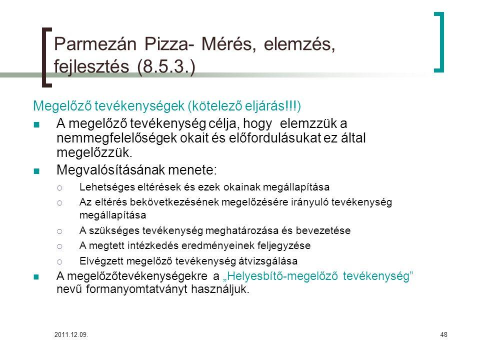 Parmezán Pizza- Mérés, elemzés, fejlesztés (8.5.3.)