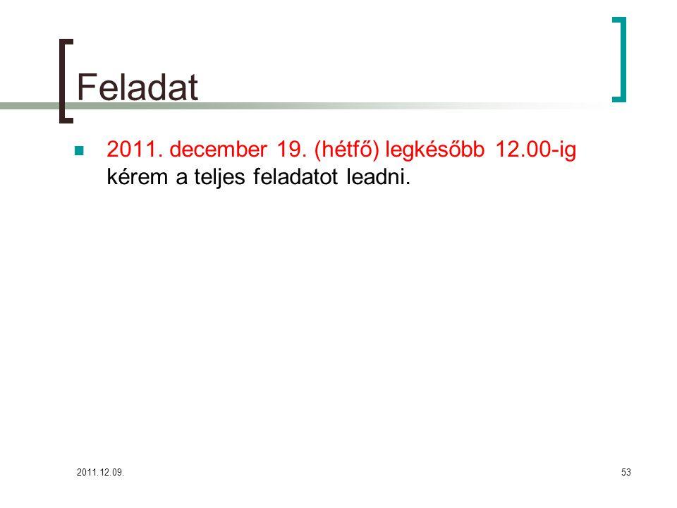 Feladat 2011. december 19. (hétfő) legkésőbb 12.00-ig kérem a teljes feladatot leadni. 2011.12.09.