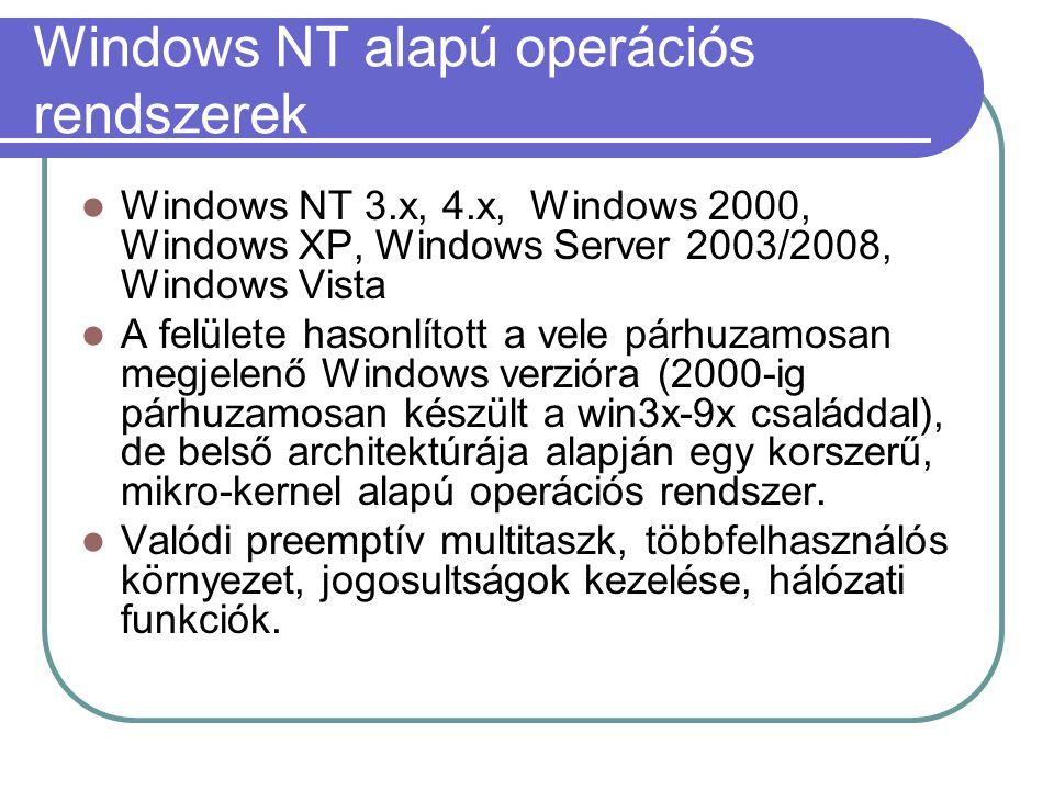 Windows NT alapú operációs rendszerek