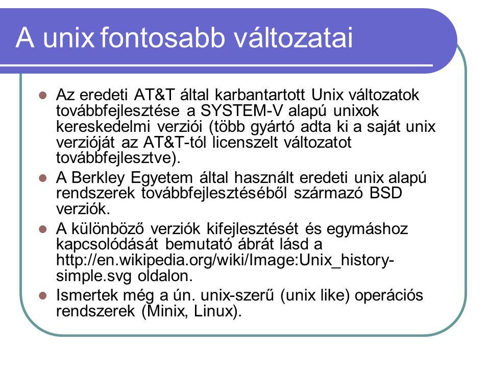 A unix fontosabb változatai