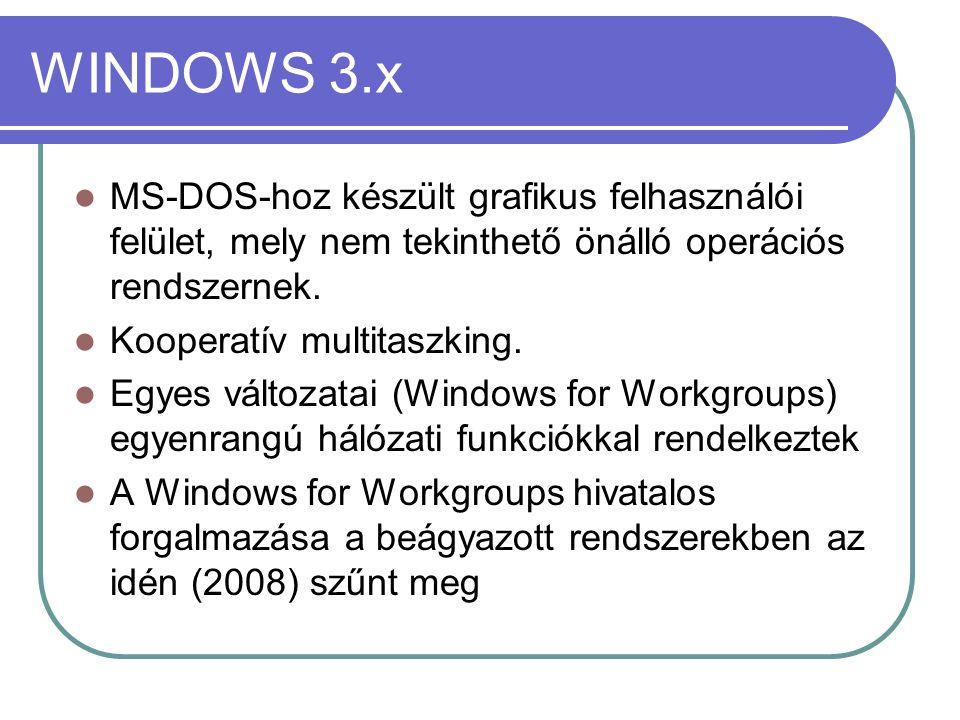 WINDOWS 3.x MS-DOS-hoz készült grafikus felhasználói felület, mely nem tekinthető önálló operációs rendszernek.