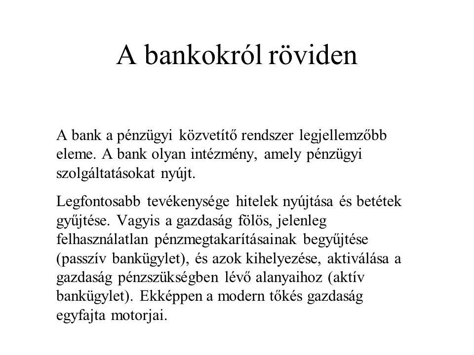 A bankokról röviden A bank a pénzügyi közvetítő rendszer legjellemzőbb eleme. A bank olyan intézmény, amely pénzügyi szolgáltatásokat nyújt.