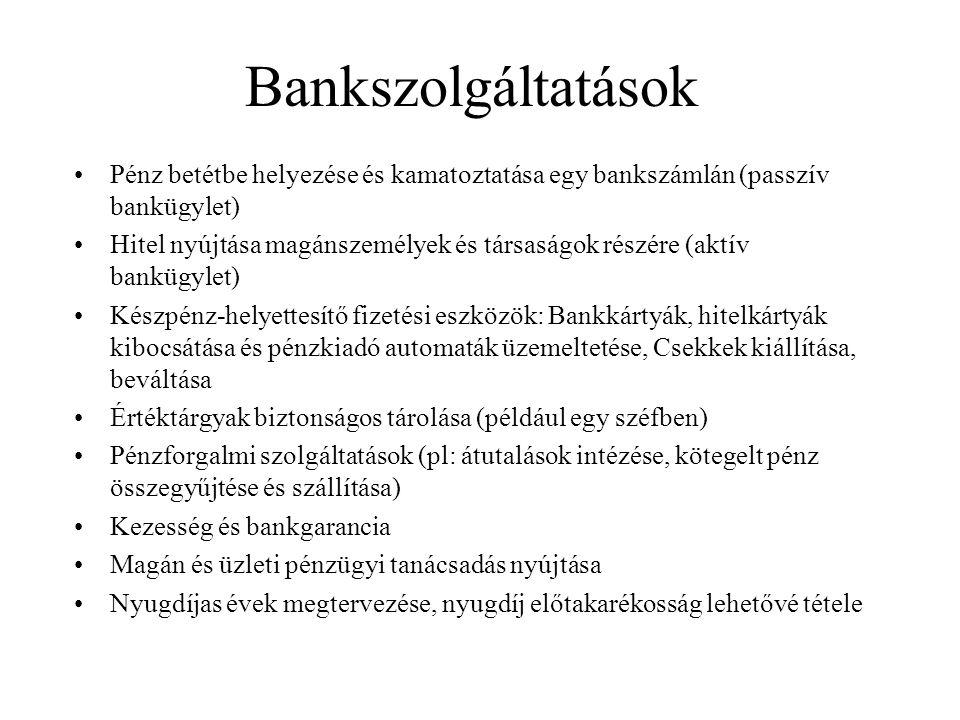 Bankszolgáltatások Pénz betétbe helyezése és kamatoztatása egy bankszámlán (passzív bankügylet)