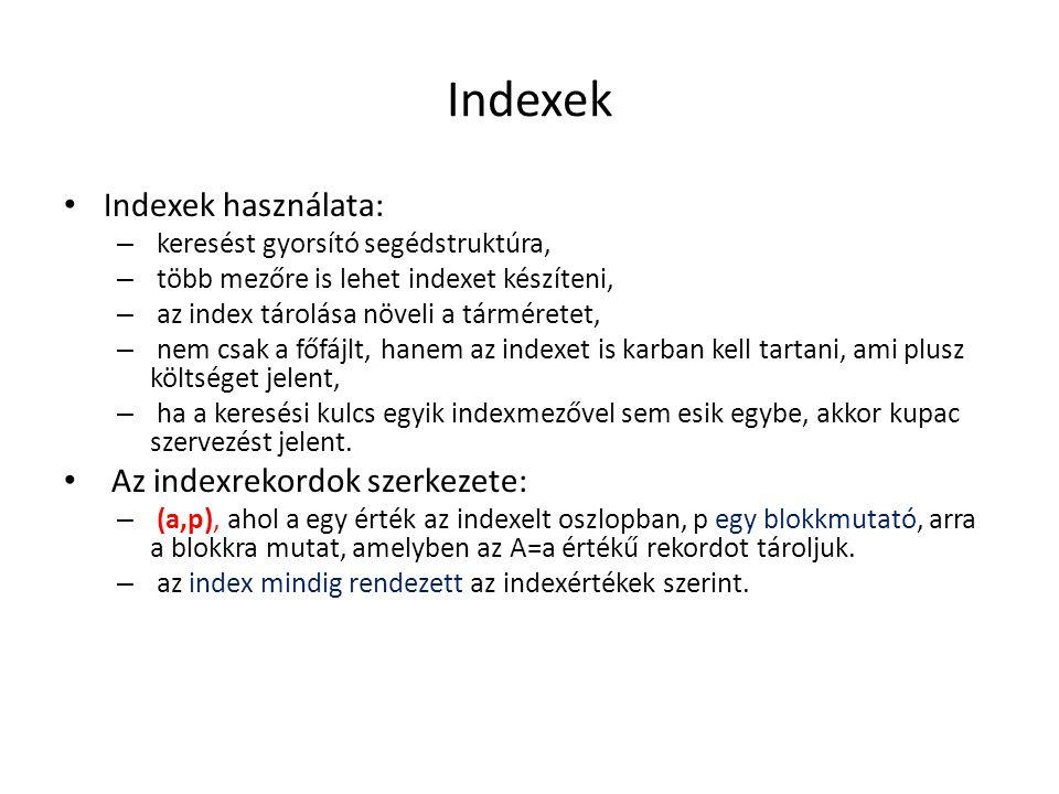 Indexek Indexek használata: Az indexrekordok szerkezete: