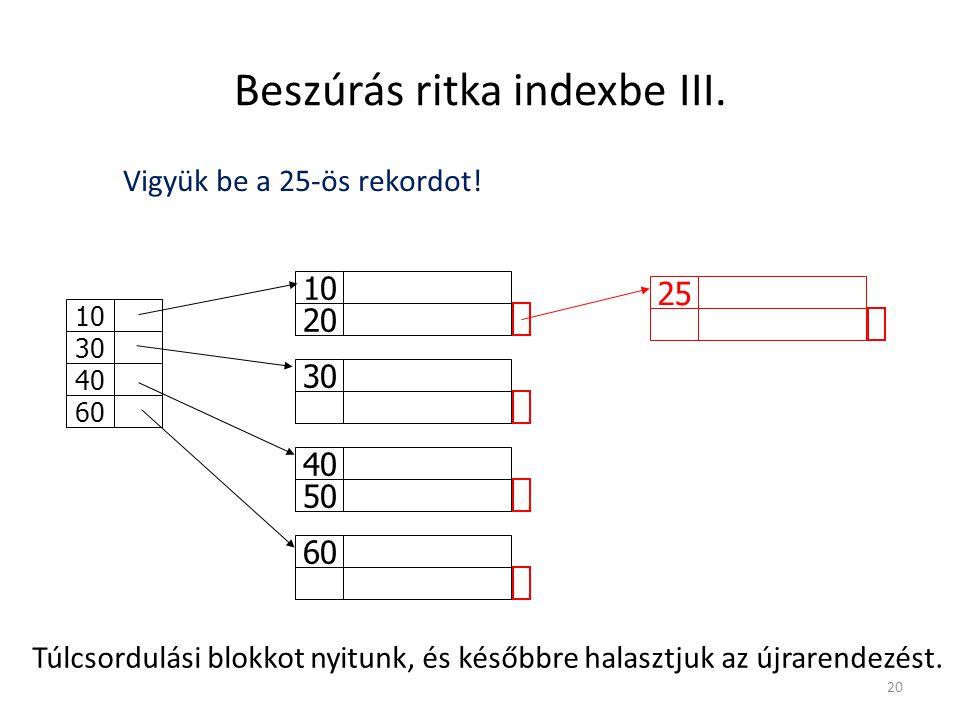 Beszúrás ritka indexbe III.