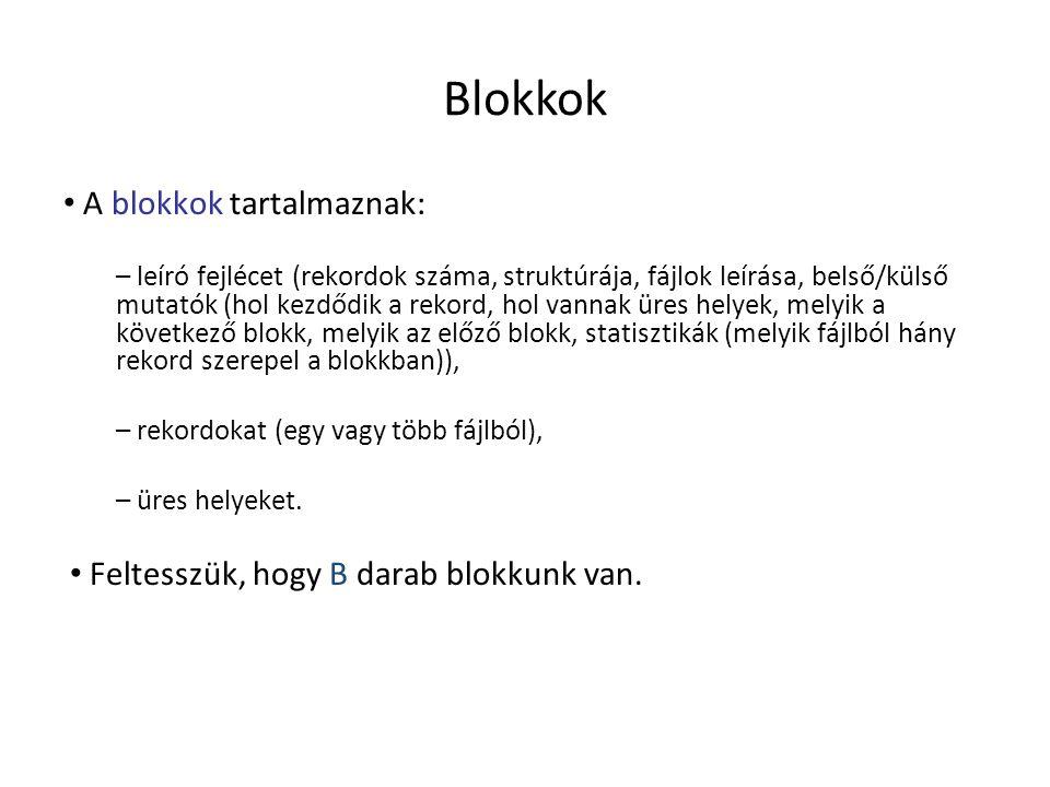 Blokkok A blokkok tartalmaznak: Feltesszük, hogy B darab blokkunk van.