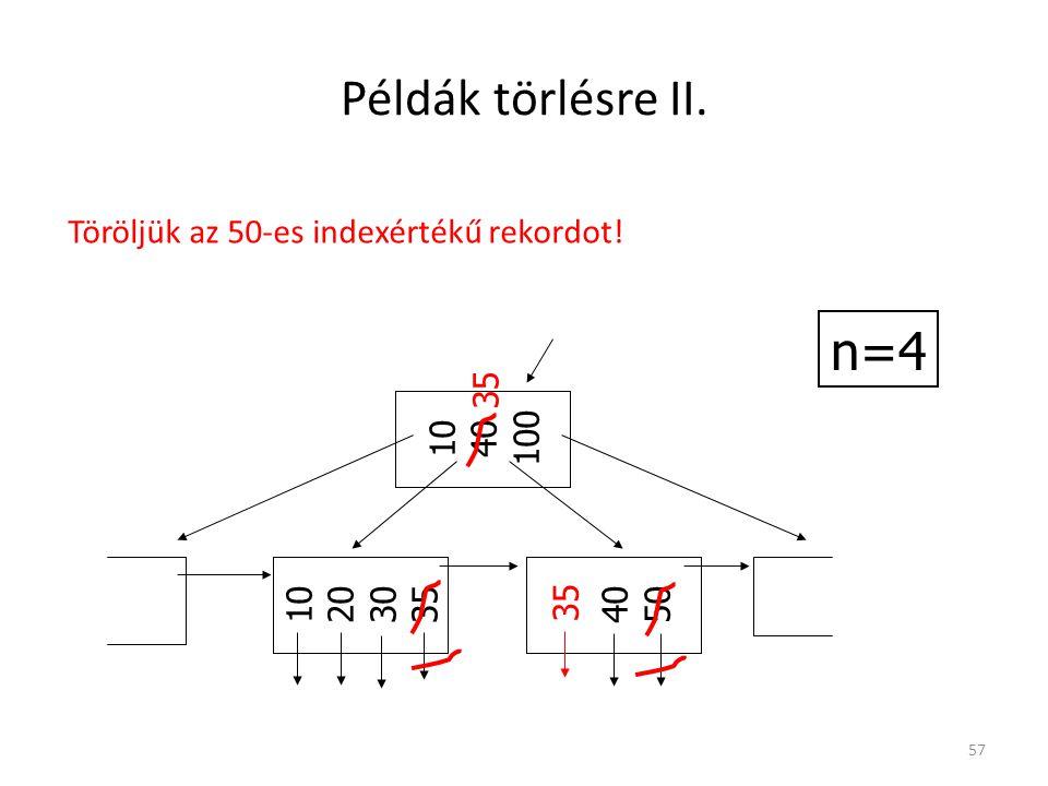 Példák törlésre II. n=4 Töröljük az 50-es indexértékű rekordot! 10 40