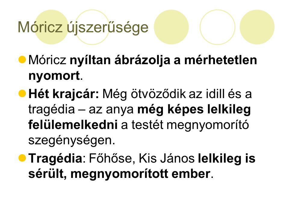 Móricz újszerűsége Móricz nyíltan ábrázolja a mérhetetlen nyomort.