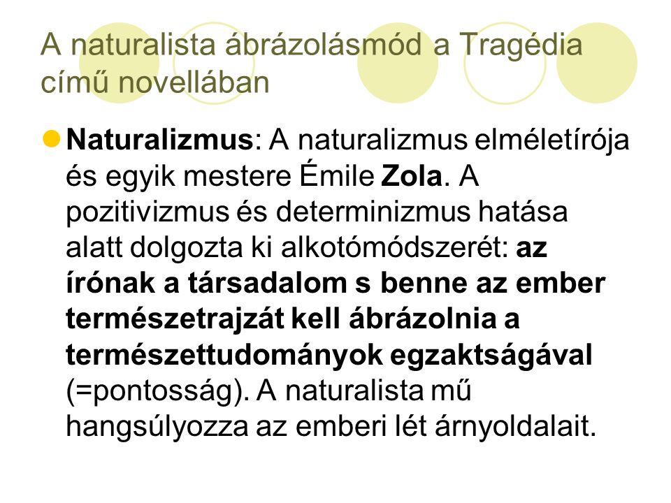A naturalista ábrázolásmód a Tragédia című novellában