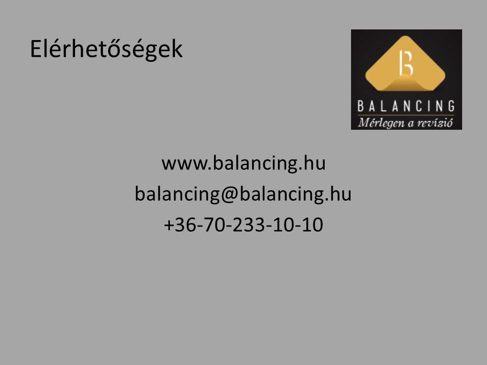 Elérhetőségek www.balancing.hu balancing@balancing.hu +36-70-233-10-10