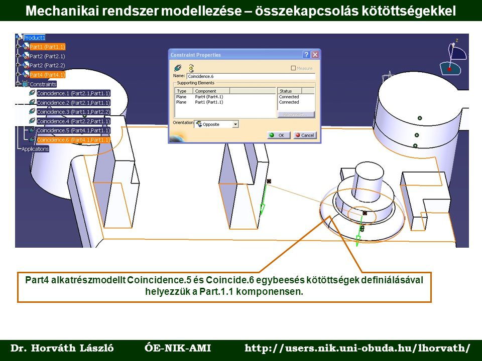 Mechanikai rendszer modellezése – összekapcsolás kötöttségekkel