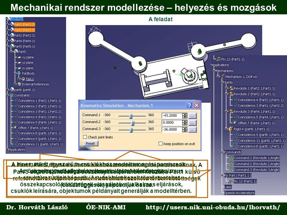 Mechanikai rendszer modellezése – helyezés és mozgások
