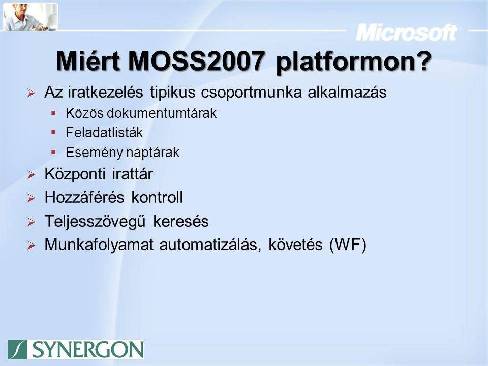 Miért MOSS2007 platformon Az iratkezelés tipikus csoportmunka alkalmazás. Közös dokumentumtárak. Feladatlisták.