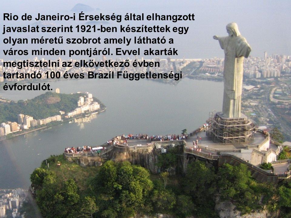 Rio de Janeiro-i Érsekség által elhangzott javaslat szerint 1921-ben készítettek egy olyan méretű szobrot amely látható a város minden pontjáról.