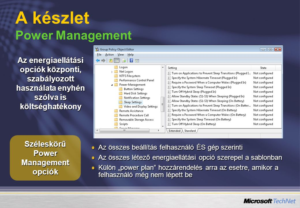 A készlet Power Management