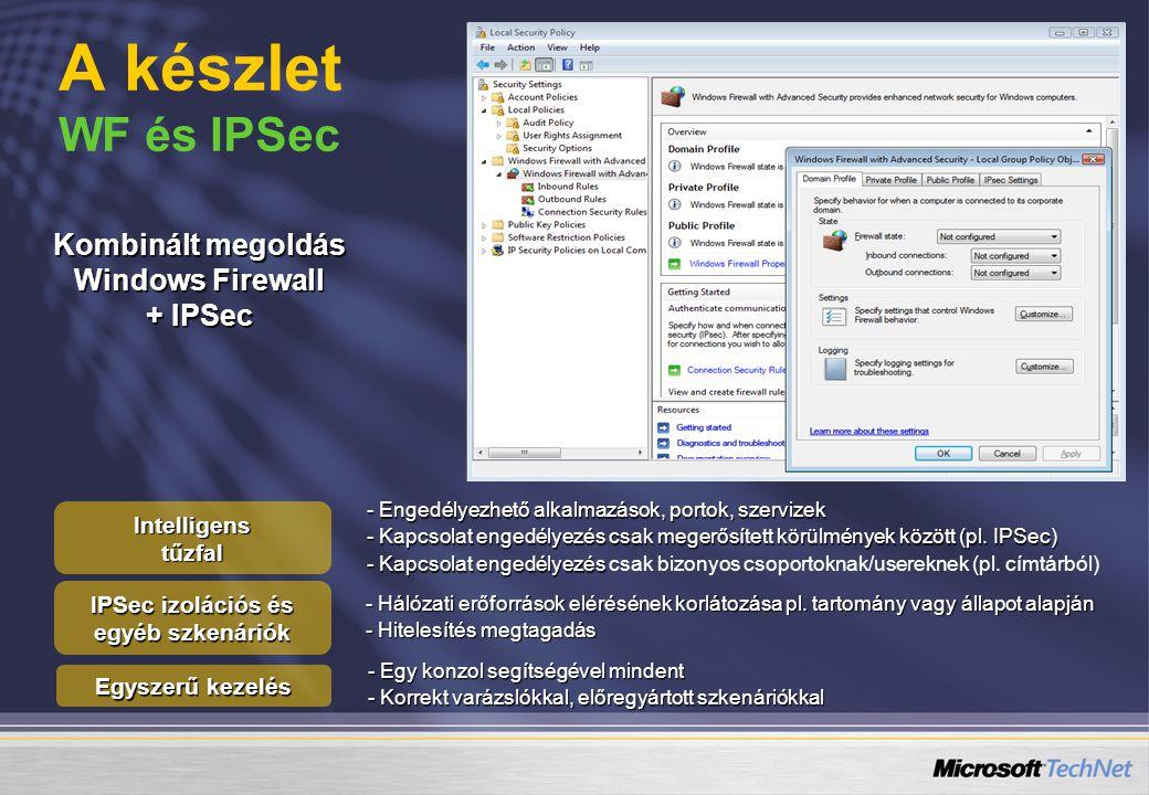 A készlet WF és IPSec Kombinált megoldás Windows Firewall + IPSec