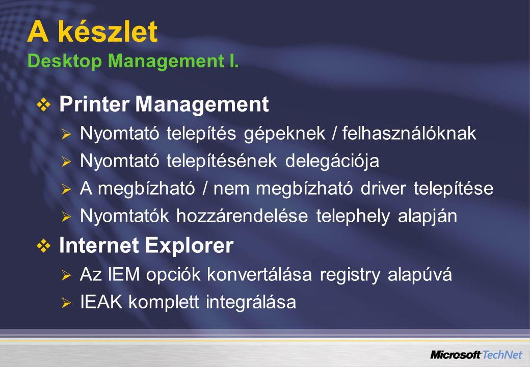 A készlet Desktop Management I.