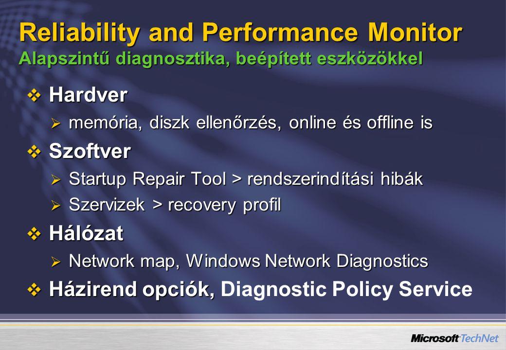 4/6/2017 5:56 PM Reliability and Performance Monitor Alapszintű diagnosztika, beépített eszközökkel.