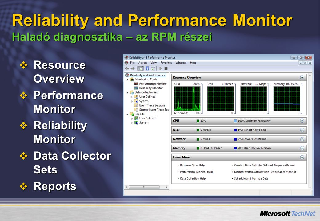 4/6/2017 5:56 PM Reliability and Performance Monitor Haladó diagnosztika – az RPM részei. Resource Overview.