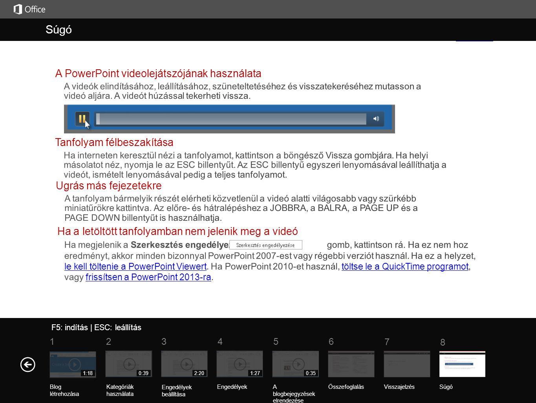 Súgó Súgó A PowerPoint videolejátszójának használata