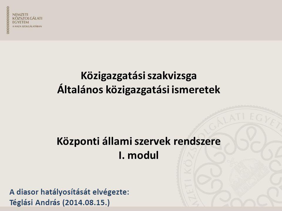 KÖZIGAZGATÁSI SZAKVIZSGA ÁLTALÁNOS KÖZIGAZGATÁSI ISMERETEK III