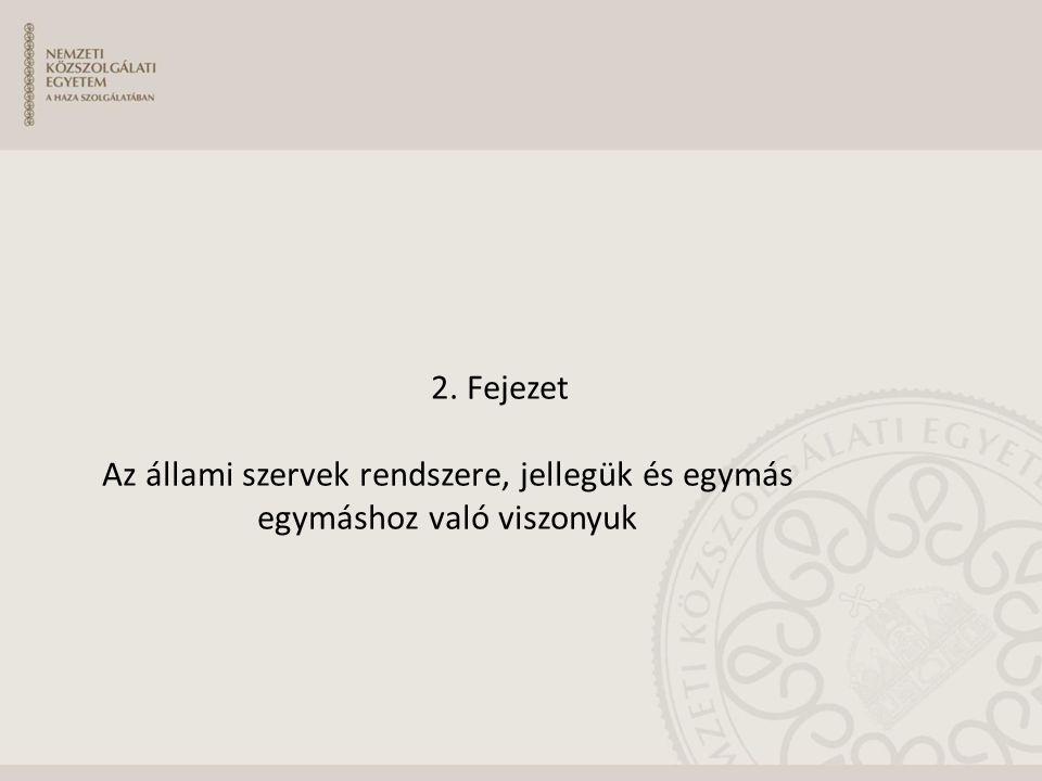 2. Fejezet Az állami szervek rendszere, jellegük és egymás egymáshoz való viszonyuk