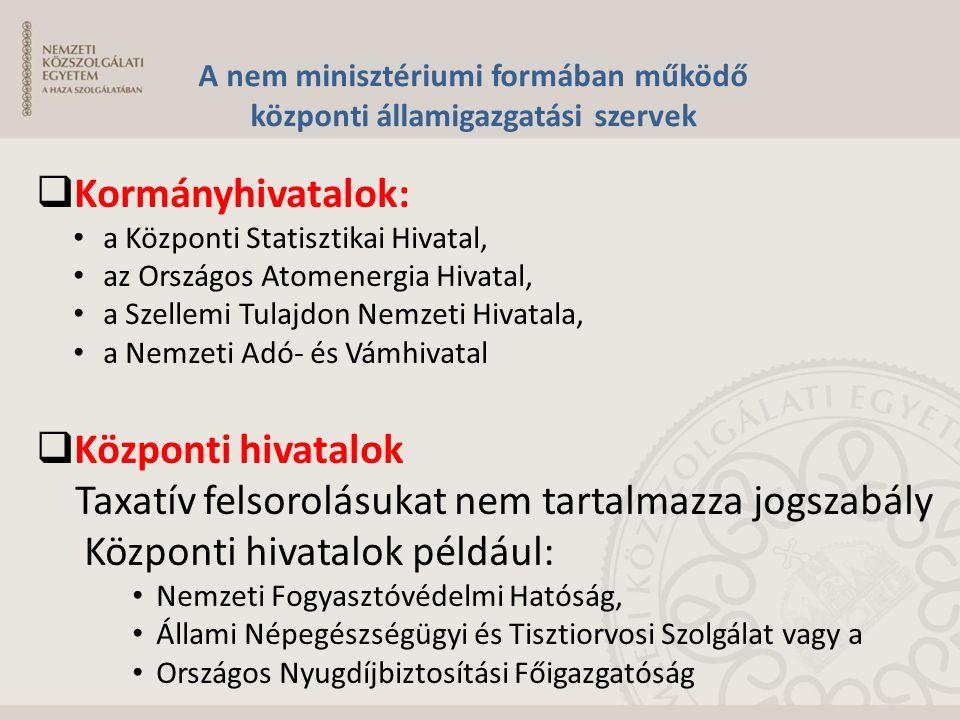 A nem minisztériumi formában működő központi államigazgatási szervek