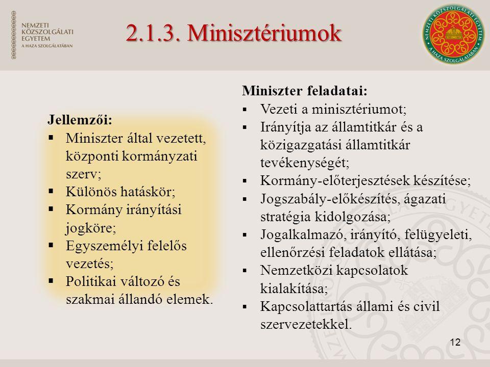 2.1.3. Minisztériumok Miniszter feladatai: Vezeti a minisztériumot;