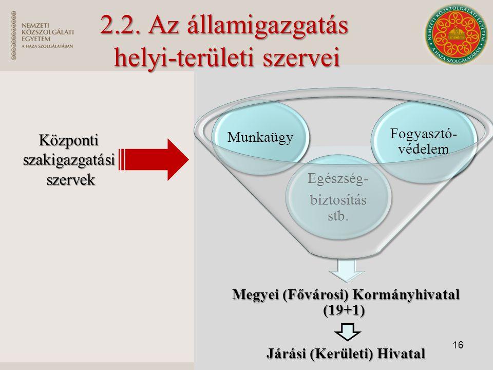 2.2. Az államigazgatás helyi-területi szervei
