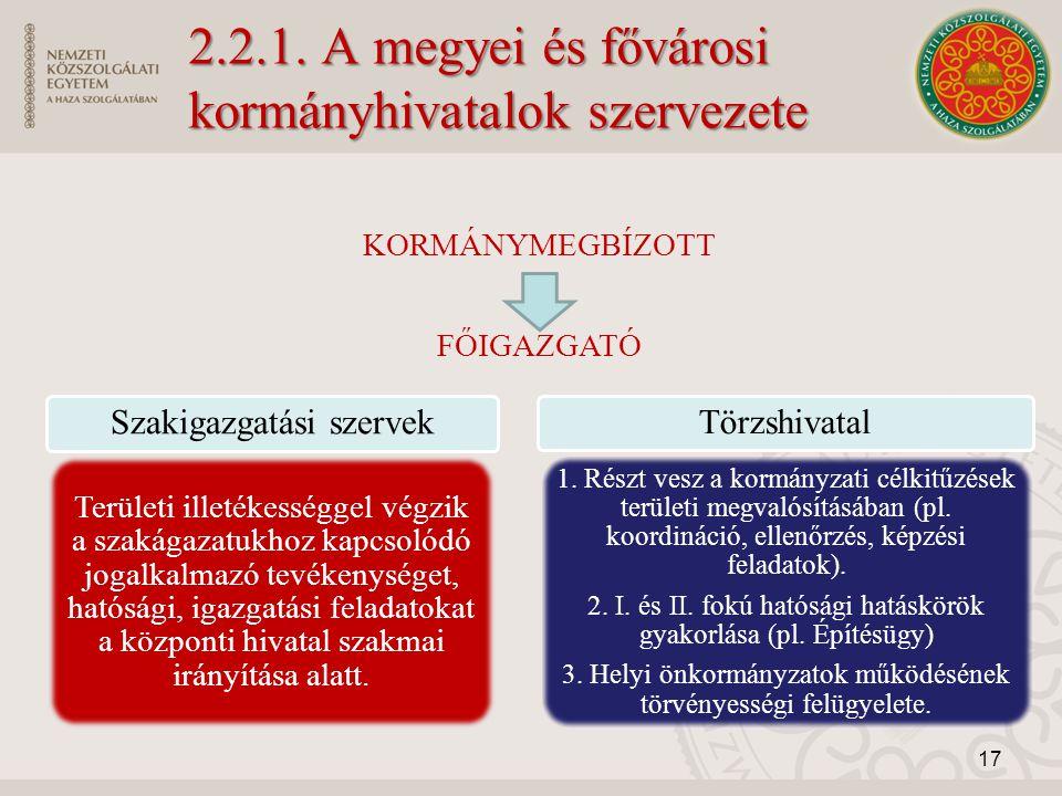 2.2.1. A megyei és fővárosi kormányhivatalok szervezete