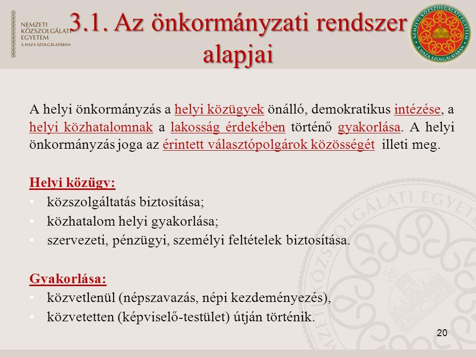 3.1. Az önkormányzati rendszer
