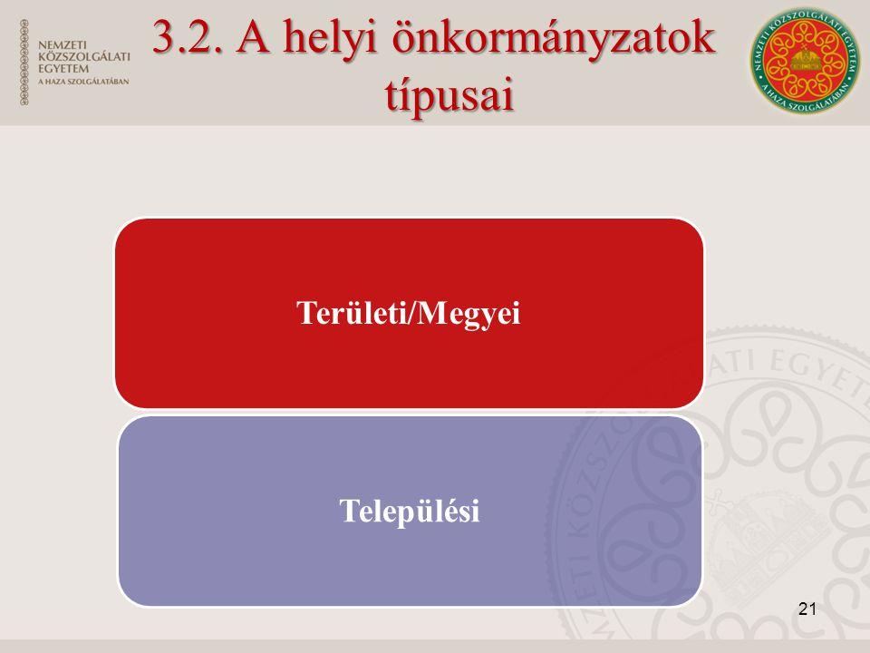 3.2. A helyi önkormányzatok típusai