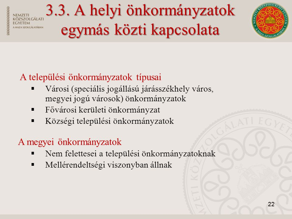 3.3. A helyi önkormányzatok egymás közti kapcsolata