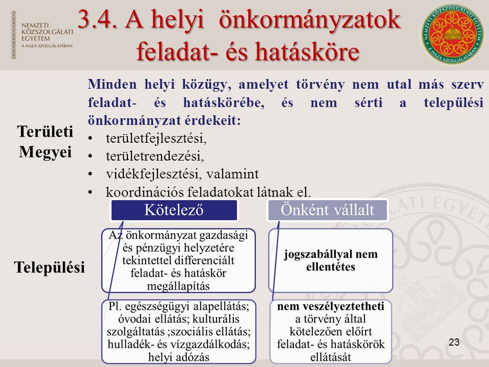3.4. A helyi önkormányzatok feladat- és hatásköre