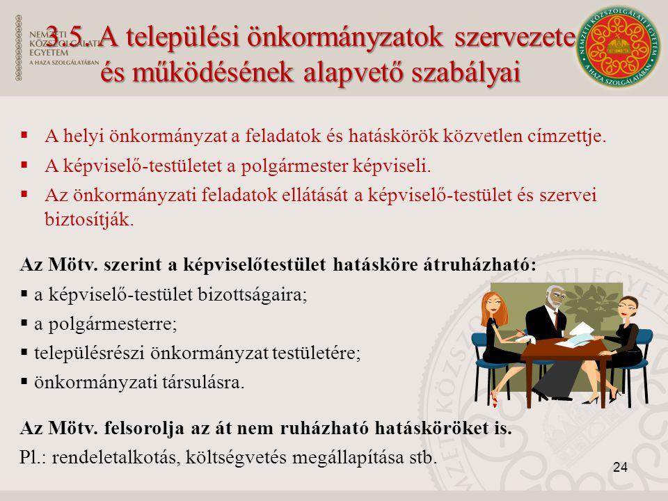 3.5. A települési önkormányzatok szervezete és működésének alapvető szabályai