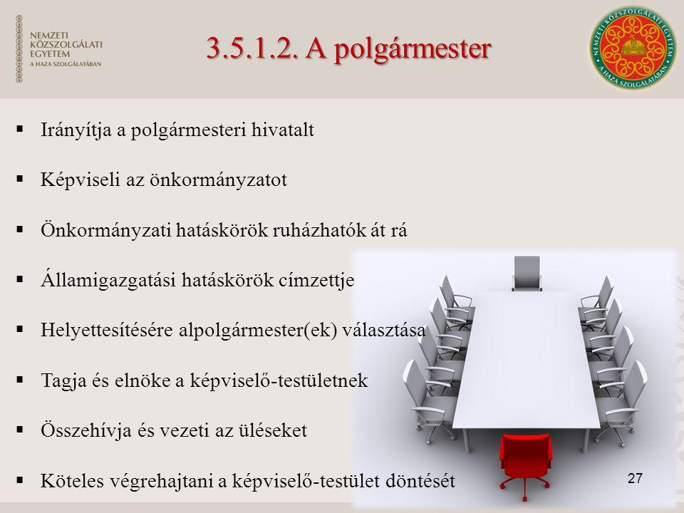 3.5.1.2. A polgármester Irányítja a polgármesteri hivatalt